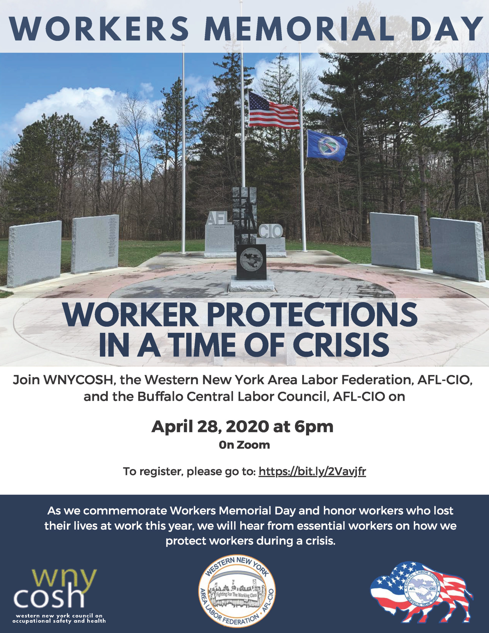 Flyer for Workers Memorial Day in Buffalo 2020. Image of a monument with an American and New York State flag at half-mast. Text reads: Worker protections in a time of crisis.